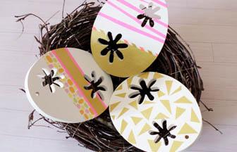 créer panier nid bois branche, oeufs en bois à customiser peinture masking