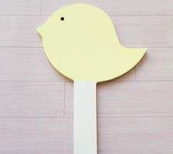 oiseau à planter bois à customiser, peinture blanc, jaune pastel