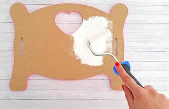 lit simple poupée bois à customiser, peinture blanc pébéo
