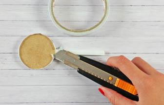 double face, sucette bois à customiser, fixer tissu tranches
