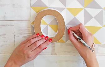 contour lettre à poser bois home papier géométrique