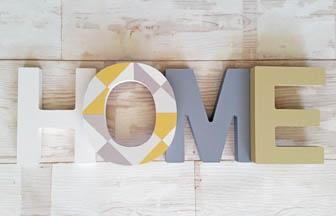 do it yourself, lettres bois à customiser et à poser, mot home, déco intérieur
