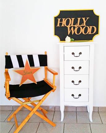 décoration Hollywood formes bois à customiser, étoile star, cinéma
