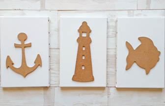 châssis et formes en bois mer à customiser, collage peinture