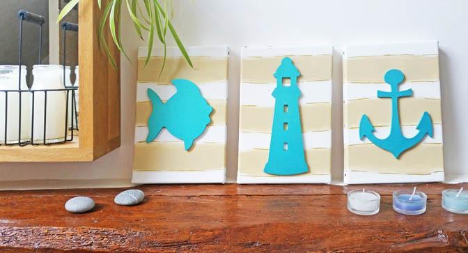 formes en bois à customiser, déco mer, poisso, phare, ancre