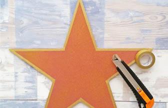 étoile star à customiser bois, peinture, paillettes, masking tape or