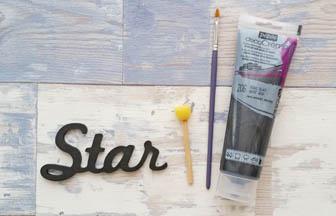 étoile bois, mot star déco peinture noir pébéo