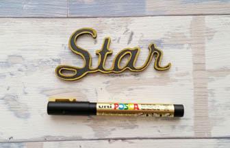 étoile star à customiser bois, déco diy contour or posca