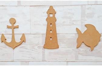 formes en bois à customiser, salle de bain, mer, poisson, phare, ancre