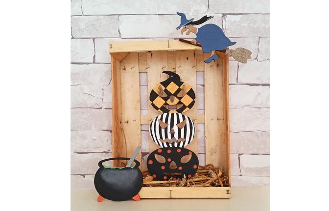 supports bois Halloween à customiser, citrouille totem, sorcière, chaudron