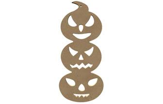 totem 3 citrouille bois à customise, décoration intérieur Halloween