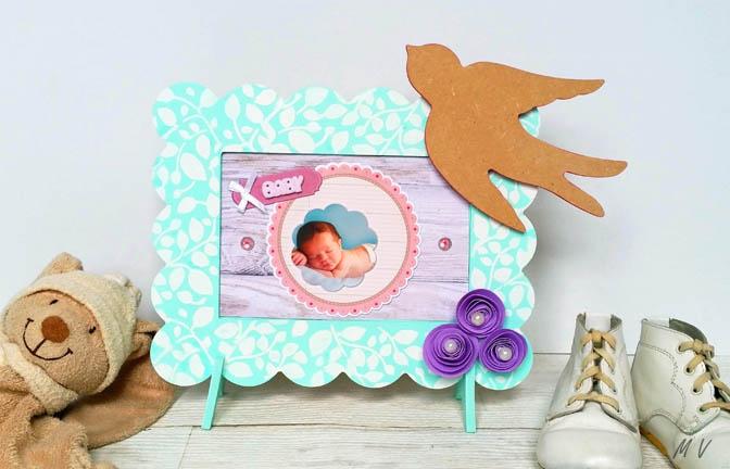 cadre en bois photo beurre à customiser, chambre bébé déco pastel