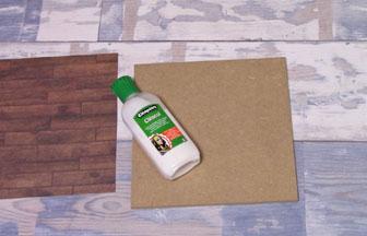 carré en bois à customiser, coller papier paquet