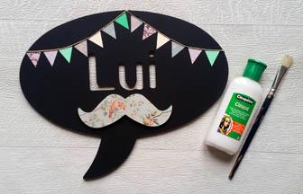 bulle photobooth luis moustache bois à customiser, coller formes bois
