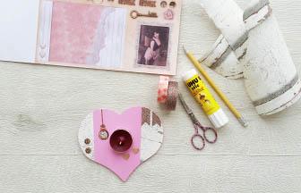 support bougie coeur à customiser en bois, strass, masking tape, sticker, papier