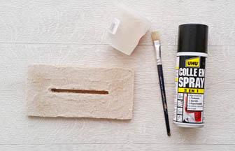 roseau en bois à customiser, socle colle spray sable blanc fin diy