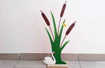 roseau à poser et cygne en bois à customiser, peinture, paillettes diy