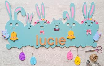 déco chambre enfant, famille frise lapin à customiser, pastel, oeuf, cloches