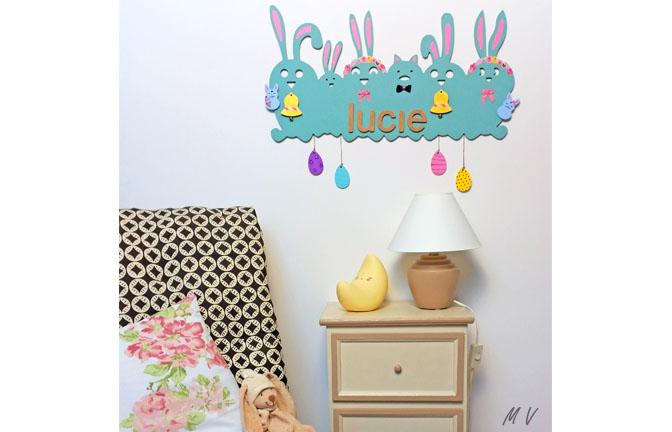famille lapin en bois à customiser, déco chambre pastel, lapin, œuf, cloche, bébé