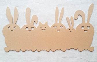 famille lapins en bois à customiser, fise, déco chambre diy