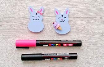 mini lapins à customiser en bois, déco posca, stickers, glace