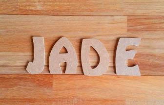 lettres majuscules en bois à décorer, prénom fille jade, déco chambre
