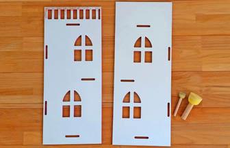 maison en bois à customiser pour poupée, figurines, jouet, mur intérieur blanc
