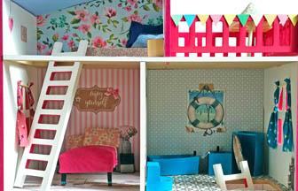 maison à customiser en bois, meuble, poupée, jouets, figurines