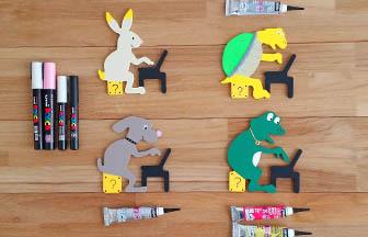 formes en bois à customiser, animaux geek ordinateur, diy mario