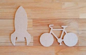vélo, fusée en bois à customiser, décoration diy