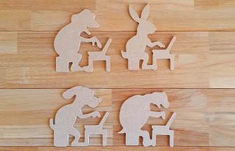 formes en bois à customiser, animaux ordinateurs geek