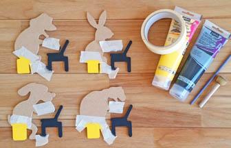formes en bois animaux ordinateurs à customiser, peinture jaune et noir
