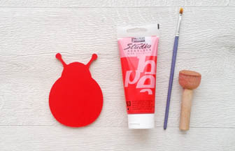 coccinelle en bois à customiser gomille, peinture rouge