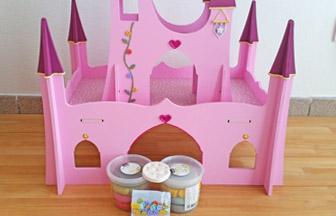 château de princesse pour figurines, déco pâte à modeler pébéo