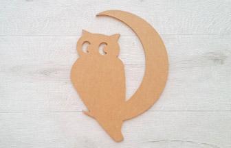 forme en bois chouette lune à customiser