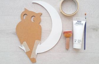 chouette lune à customiser en bois, pébéo peinture blanc lune