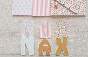 lettres en bois majuscules à customiser, prénom déco papier diy coloré