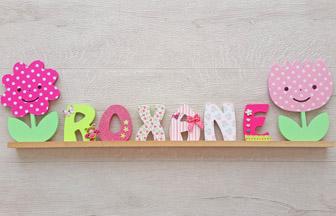 prénom fille supports bois lettres, fleurs à décorer chambre enfant