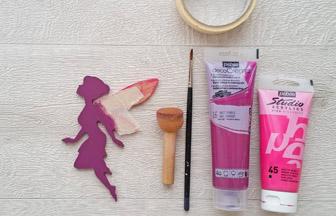 petite fée chignon en bois à customiser, déco peinture violet