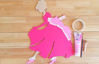 noeud peinture rose pastel princesse en bois à customiser