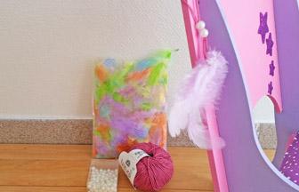 chaise de princesse poupée en bois à customiser, laine, perle plumes