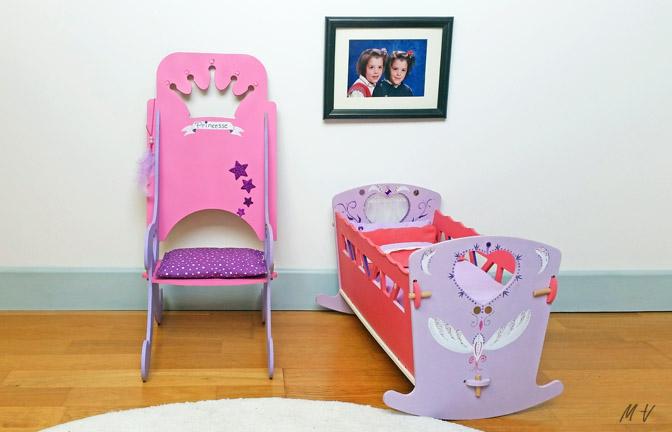 lit à bascule, chaise princesse en bois à décorer pour poupées