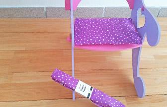 chaise de princesse pour poupée à customiser, beau coussin violet