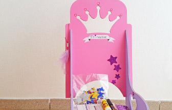 chaise de princesse à customiser en bois poupée, déco paillettes étoiles, strass