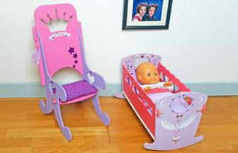 jouet chambre enfant, meubles en bois poupée : chaise princesse, lit bascule diy.