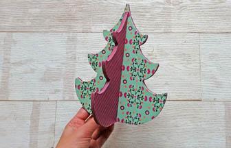 sapin 3d arabesque en bois, customiser papier coloré a poser table noël