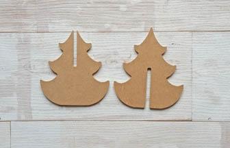 sapin 3d à décorer en bois et à poser sur la table de noël
