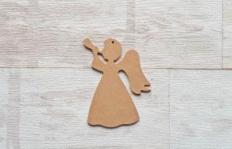 petit ange trompette percé en bois à customiser pour noël