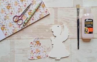 petit ange qui prie percé en bois, déco diy papier fleurs