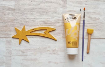 petite étoile filante percé en bois à peindre en or